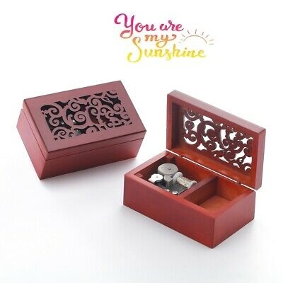 MY HEART WILL GO ON @TITANIC Rectangle Wood Carving Jewelry  Wind Up Music Box