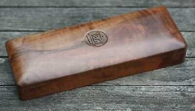Vintage Indian sandalwood pencil box with carved monogram, Early 20th C.