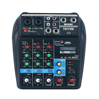 Console di missaggio audio BT a 4 canali portatile Mixer audio digitale B7U5
