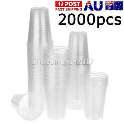 Disposable Plastic Cups Clear Reusable Drinking Water Cup Party 200ml Bulk X