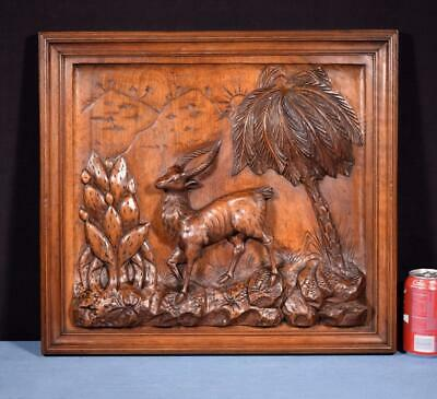 *French Antique Deeply Carved Panel in Walnut Wood Hunting Scene w/Gazelle