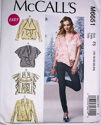 McCALL/'S #7997 PULLOVER BLOUSE or TOP PATTERN  4-22 FF 8 EASY STYLE LADIES