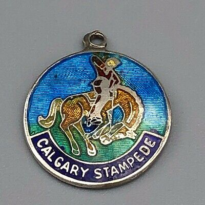 Vintage 40s 50s Sterling Guilloche Enamel Charm Calgary Stampede