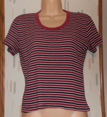 Xhilaration Multicolor Pink Cotton Blend Striped Short Sleeve Knit Top  Sz.M