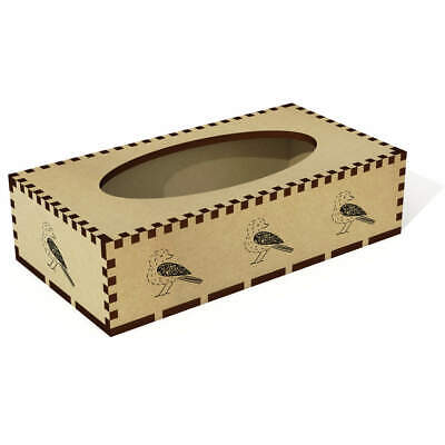 Long 'Patterned Bird' Wooden Tissue Box Cover (TB00016860)