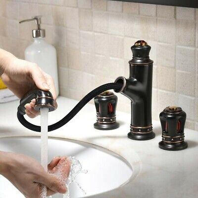 Widespread Pull-Out Spray Bathroom Sink Faucet 2-Handle Filler in Antique Black