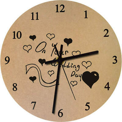 'Wedding Day Text' Printed Wooden Wall Clock (CK017242)