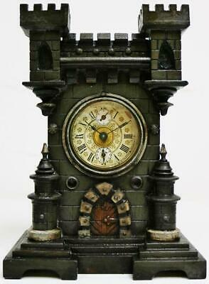 Antique HAC 8Day Carved Architectural Castle Alarm Mantel Clock Floating Balance