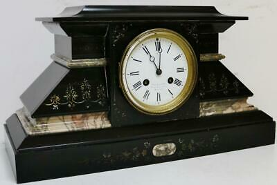 Beautiful Antique French Slate & Grey Marble Engraved 8Day Striking Mantel Clock
