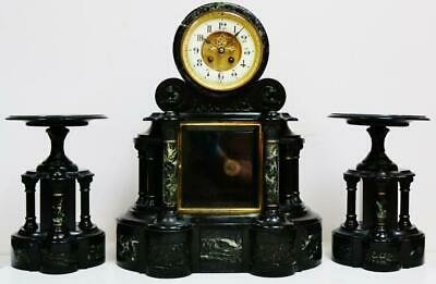 Large Antique French Slate Marble Bell Striking 8 Day Drum Head Mantel Clock Set