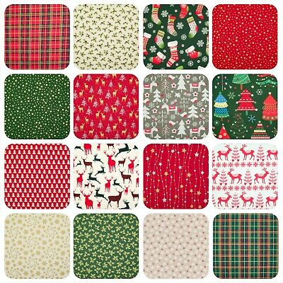 100% Cotton Christmas Fabric Prints Sewing Craft Material Reindeer Xmas Designs