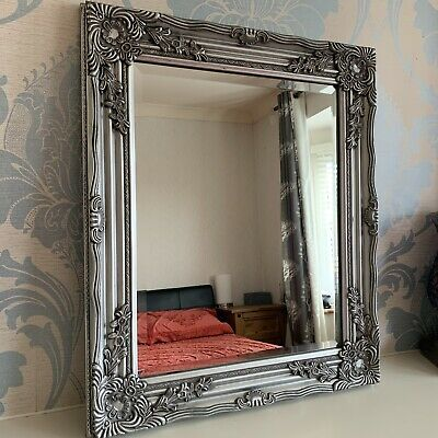Baroque Style Silver Antique Wooden Wall Mirror Shabby Chic Ornate Silver Mirror