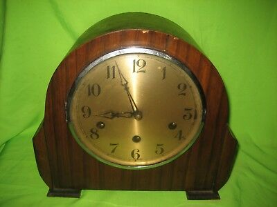 Vintage Foreign Mantle Clock Wooden Case