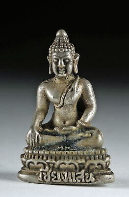 Early 20th C. Miniature Siamese Silvered Brass Buddha