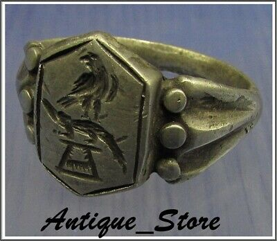 ** LEGIONARY EAGLE and CROCODILE **Ancient Silver Legionary Roman Ring *AMAZING*