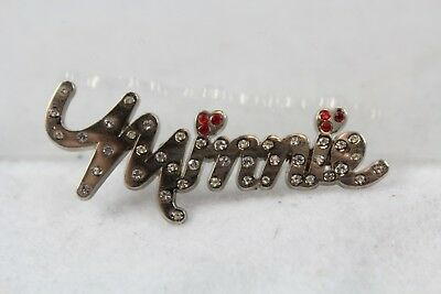 Disney Parks Pin Minnie Mouse Gemmed Jeweled Name Signature 115659
