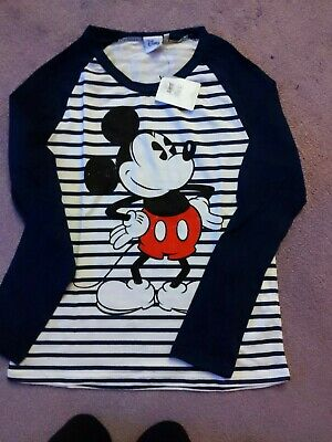 6 to 14 BRAND NEW LADIES EX-PRIMARK MICKEY MOUSE LONG SLEEVE T-SHIRT TOP SIZES