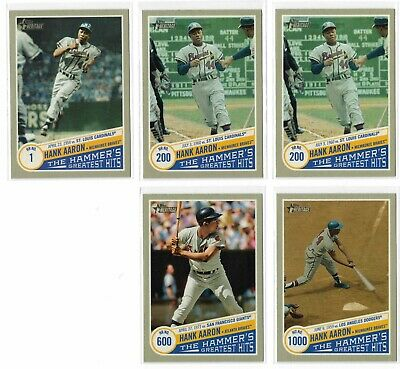 (5) Card Lot of 2019 Topps Heritage High Hank Aaron The Hammer's Greatest Hits