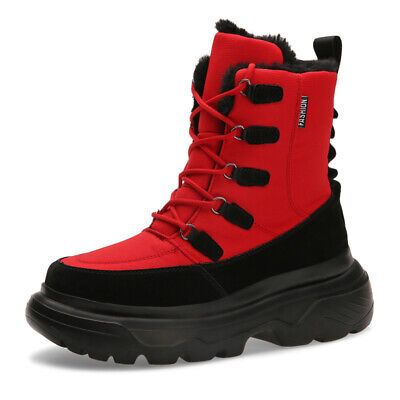 Mens Winter Fur Lined Snow Boots Waterproof Insulated Warm Mid Calf Casual Shoes