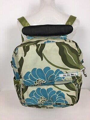 JuJuBe Diaper Bag Backpack Blue Green Floral Infant Baby Kids Messenger Bag