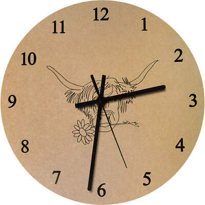 'Highland Cow With Flower' Printed Wooden Wall Clock (CK022120)