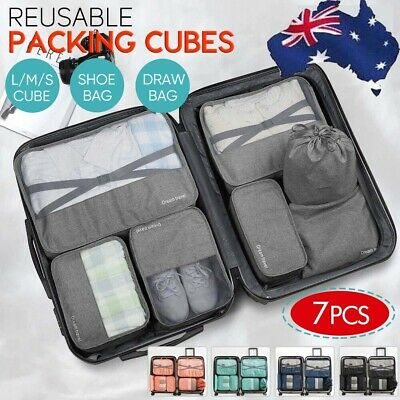 7in1 Packing Cubes Travel Pouches Suitcase Luggage Organizer Clothes Storage Bag