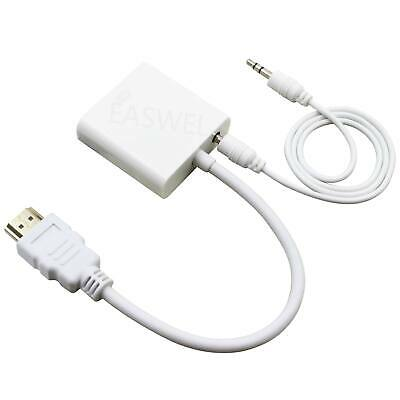 1080P HDMI Male to VGA Female Video Cable Cord Converter Adapter AUX For PC HDTV