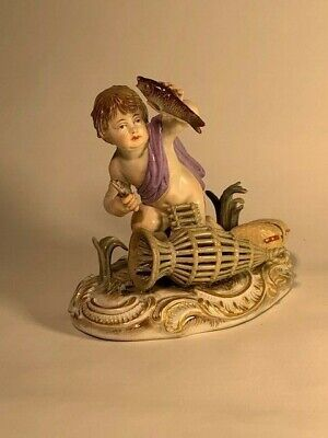 19th C MEISSEN PORCELAIN FIGURE - young fisherman