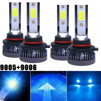 2 Pair 9005+9006 LED Combo Mini Headlights Bulb Kit High Low Beam 8000K Ice Blue