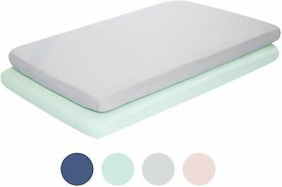 2 Pack Mini Portable Crib Sheets for Boys Girls, Ultra-Soft Green & Gray