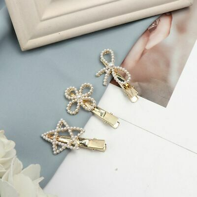 Women Pearls Hair Clip Hair Accessories Flower Bow Star Hairpin Metal Barrettes