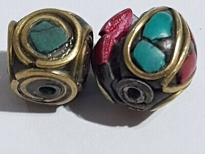 LOT OF 2pcs LATE MEDIEVAL SILVER BEADS GOLDPLATED - RARE STONES PENDANT