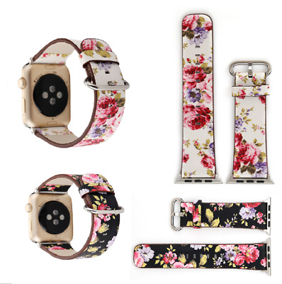US Floral Flower Leather Strap Wrist Band 38mm 42mm For Apple Watch Series 1 2 3