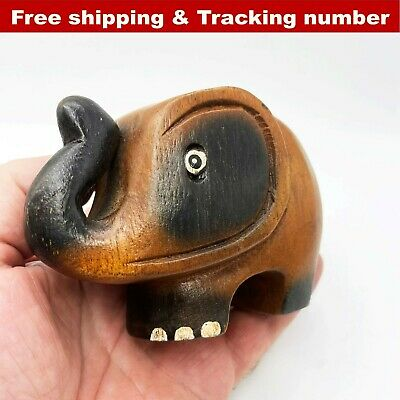 Wooden Elephant Wood Carved Figurine Handmade Home Decor Thai Gift Toys