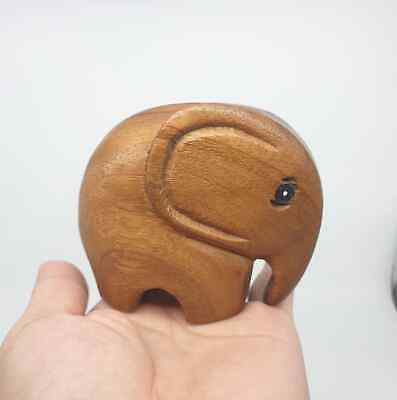 Wooden Elephant Wood Carved Figurine Handmade Home Decor Gift Toys Collectible