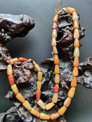 Good Chinese old jade Carved beads Hand woven Necklace