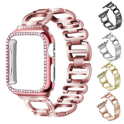 Bling Case+ Diamond Bracelet Watch Band Strap For Apple iWatch 1 2 3 4 5 42 44mm