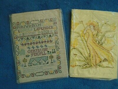 2 Completed Cross Stitch Sewing Tapestries (Different) Ready For Frame/Cushion