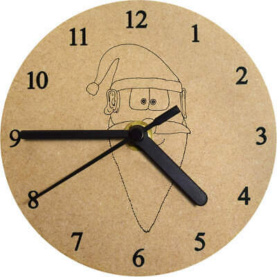 'Father Christmas Head' Printed Wooden Wall Clock (CK024037)
