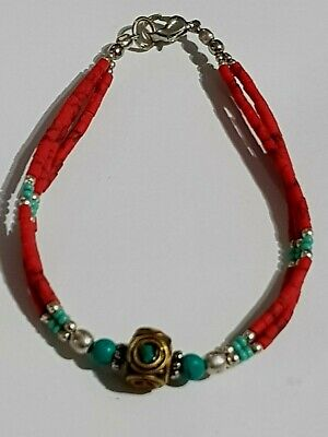 Late Medieval Bracelet Silver  Turquoise Stones,1 Bead Gold Plated 6 Gr 180 Mm