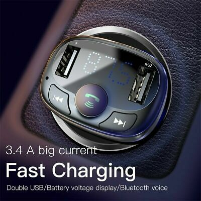 Baseus Bluetooth Wireless FM Transmitter Car Dual USB Charger Adapter MP3 Player