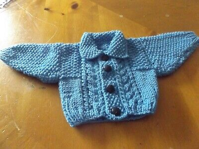 Brand New Hand Knitted Baby Boys Blue Aran Cardigan With Collar