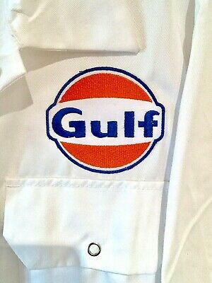 """Goodwood Revival Vintage Retro 100% Cotton Gulf Badged Overalls S 36-38"""" Chest"""