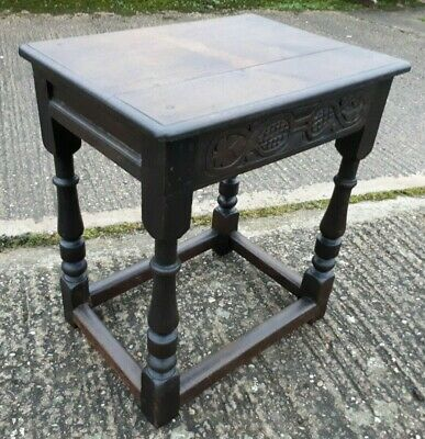 Antique Solid Oak Carved 18th Century Joint Stool