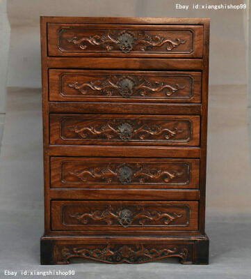 Rare Chinese Huanghuali Wood handcrafted Lucky flower Pattern Drawer Cabinet Box
