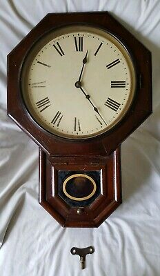 1888 SETH THOMAS WOODEN WALL CLOCK working