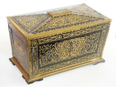SUPERB Large Antique Early 19th Century Brass / Ebony Boulle Tea Caddy / Casket