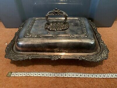 Antique? Silver On Copper Lidded Rectangular Serving Dish Tray