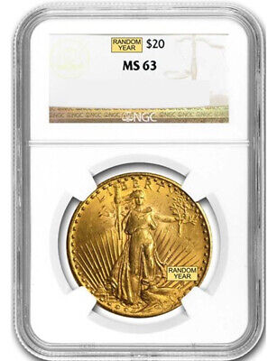 Random Date 1908-1932 Saint-Gaudens (With Motto) $20 Gold Double Eagle NGC MS63