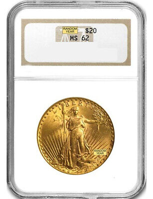Random Date 1908-1932 Saint-Gaudens (With Motto) $20 Gold Double Eagle NGC MS62